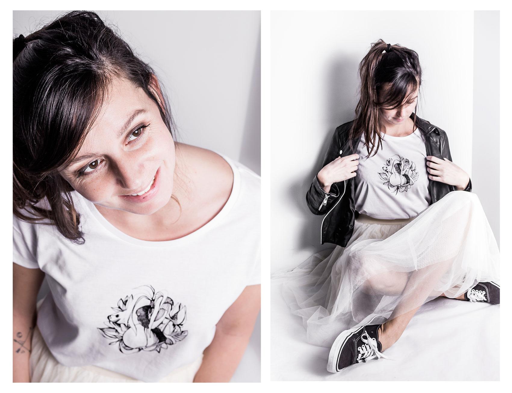 tshirt femme Silowane, graphisme Fruits, coloris blanc