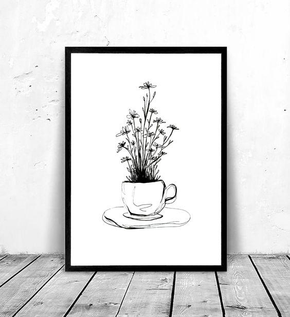 affiche café en fleur illustration silowane