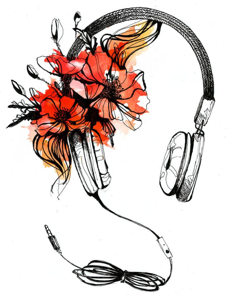 casque de musique- rouge coquelicot