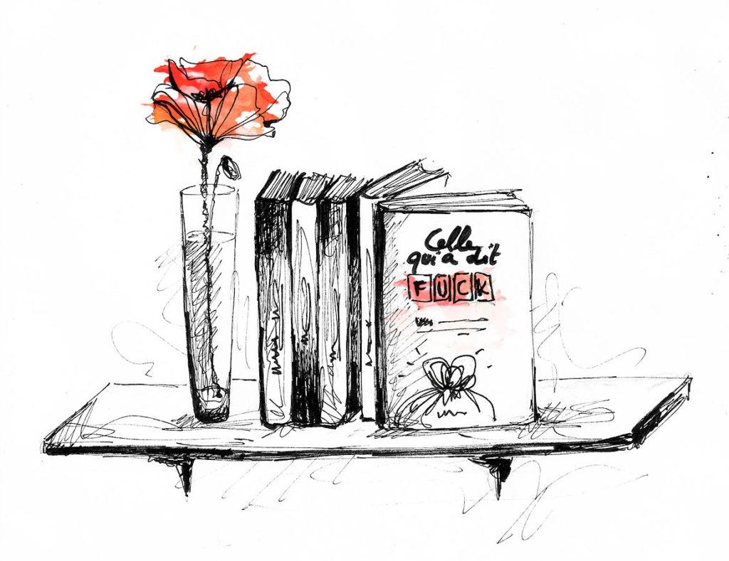 Illustration livre et coquelicot rouge